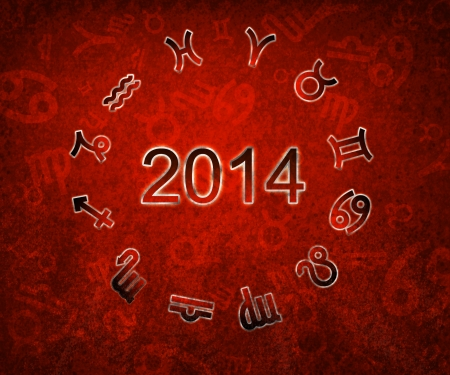 conjunction: 2014 Zodiac circle with zodiac signs on the red grunge background