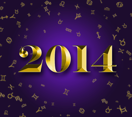 Golden 2014 at astrology signs background photo
