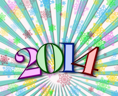Happy New Year 2014 background with colorful snowflakes Stock Photo