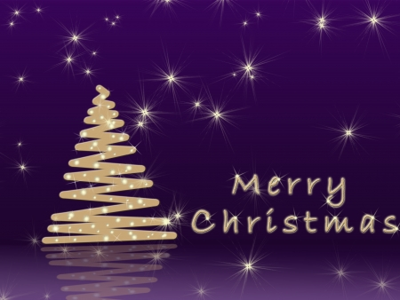 Simple Christmas purple background with golden Christmas tree photo