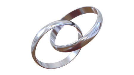 Linked engagement rings. Two silver rings on a completely white background. Realistic three-dimensional illustration