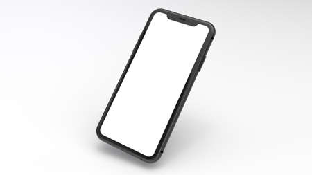 Mockup of a black cell phone with a white background. Perfect for putting images of websites or applications.