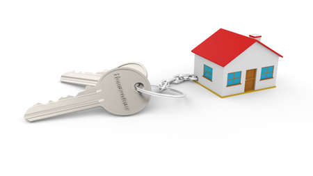 Two silver keys with a key chain of a house with the text Homeowner, all isolated on a white background. For real estate sales publications. Three-dimensional Home key chain. Real estate concept with house and key. Idea for real estate concept, personal property.