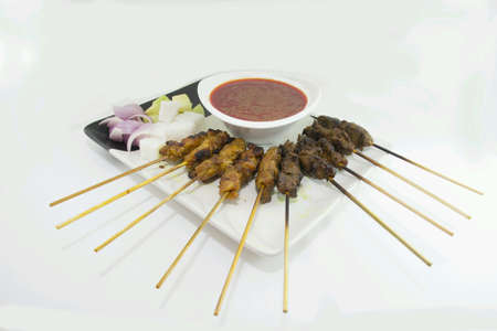 peanut sauce: Malaysian satay served with traditional peanut sauce
