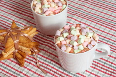 Hot chocolate drink with colorful marshmallow and star shaped gingerbread cookies