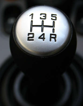 lever: A manual shift gear lever Stock Photo