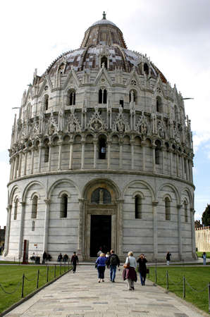 Long shot of the Battistero, the baptistery in Piazza dei Miracoli, Pisa, Italy. photo