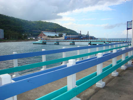 Jetty to the cruise ship in Ocho Rios Jamaica after excursion on a Caribbean cruise, beautiful island and clear ocean sea water Stock Photo