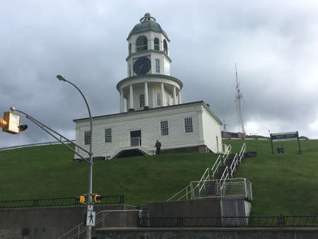 The historical Citadel located downtown Halifax on the hill, with green grass.