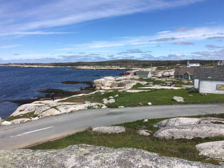 Beautiful Peggy's Cove in Halifax Nova Scotia, volcanic rock formations and awesome ocean view
