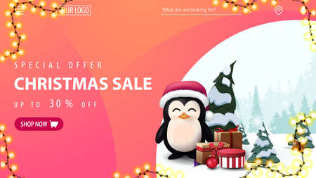 Special offer, Christmas sale, up to 30 off, pink discount web banner with penguin in Santa Claus hat with presents, garland frame, navigation of website and button with offer Illustration
