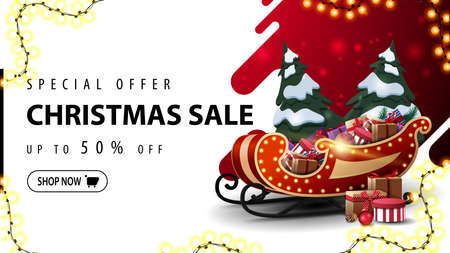Special offer, Christmas sale, up to 50 off, red and white discount web banner with liquid abstract shape on background, garland frame and Santa Sleigh with pile of presents