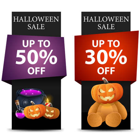 Halloween sale, two discount vertical black banner with pumpkin Jack, witch pot and Teddy bear with Jack pumpkin head 向量圖像