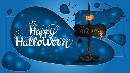Happy Halloween, horizontal greeting banner with old wooden sign with attached pumpkin Jack