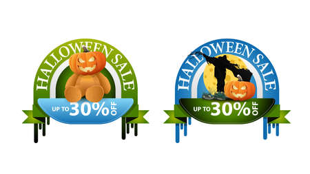 Halloween sale, -30 off, two round discount banners with Teddy bear with Jack pumpkin head and Scarecrow