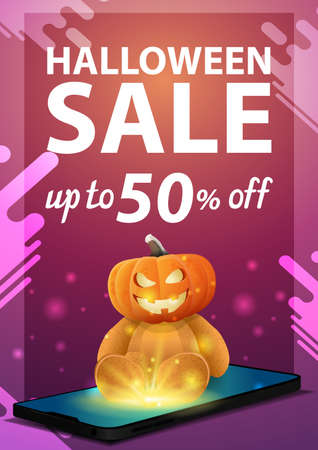 Halloween sale, modern pink vertical banner with the smartphone from which it is projected Teddy bear with Jack pumpkin head