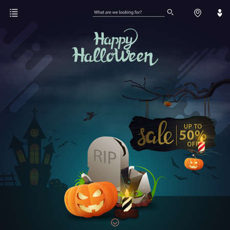 Template for website with Halloween decor. Halloween sale, up to 50 off, discount page for site with tombstone and pumpkin Jack