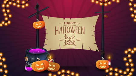 Happy Halloween, banner template with beautiful lettering, witch's cauldron and pumpkin Jack. Old sign stretched between two pillars for your text