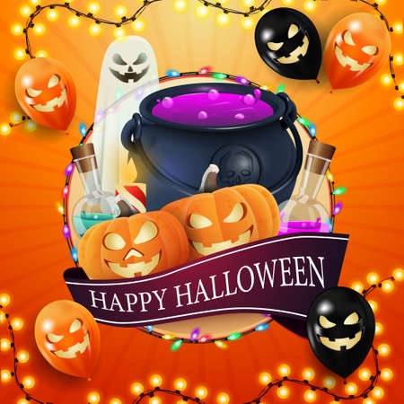 Happy Halloween, square orange, template for your creativity with big circle, garland, ribbon with greeting, halloween ballons, ghost, witch's cauldron and pumpkin Jack