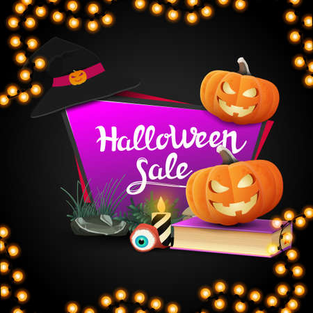 Halloween sale, geometric pink banner in the form of a quadrangular sharp plate with spell book and pumpkin Jack Çizim
