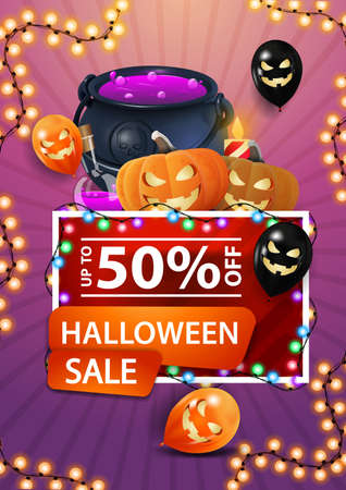Halloween sale, red discount banner with garland, Halloween balloons, witch's cauldron and pumpkin Jack