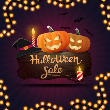 Halloween sale, square purple discount banner with a wooden Board on which sit pumpkin Jack