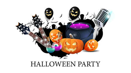 Halloween party, creative party invitation banner with microphone, guitars, pumpkins, flasks with potion and Halloween balloons. White template for Halloween party poster