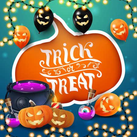 Trick or treat, creative greeting postcard with large cut pumpkin, Halloween balloons, witch's cauldron and pumpkin Jack Vektoros illusztráció