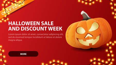 Halloween sale and discount week, red horizontal discount web banner with fun pumpkin Jack. Vektoros illusztráció