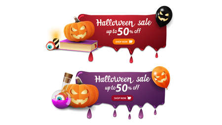 Halloween sale, two banners with drips, spell book, pumpkin Jack and witch's potion