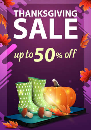 Thanksgiving sale, up to 50 off, purple vertical discount web banner with smartphone, rubber boots, pumpkin, mushrooms and autumn leaf