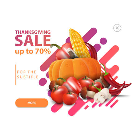 Thanksgiving sale, pop-up window with a discount banner for your website with autumn harvest. Discount pop-up isolated on white background for your arts