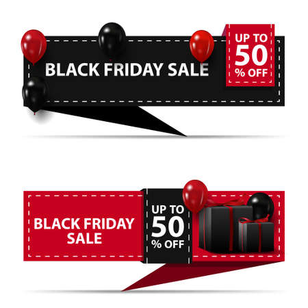 Black friday sale, up to 50 off, black and pink horizontal discount banners in the form of ribbon isolated on white background for your arts
