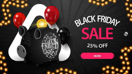Black friday sale, black horizontal discount banners with balloons, gifts and button