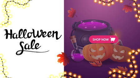 Halloween sale, modern banner with witch's cauldron and pumpkin Jack. Modern design of discount banner