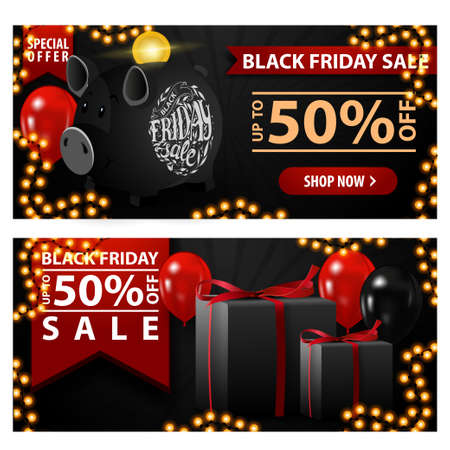 Black friday sale, up to 50 off, two black horizontal discount banner with piggy Bank, balloons and gifts.