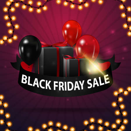 Black friday sale, discount banner in the form of ribbon with ballons, gifts and garland frame