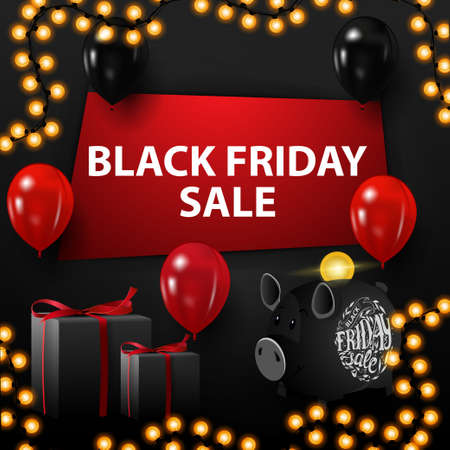 Black friday sale, black discount banner with hole in the wall, balloons, gifts, piggy Bank and garland
