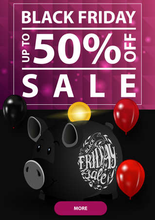 Black friday sale, up to 50 off, vertical discount banner with polygonal purple texture and piggy Bank Stock Illustratie