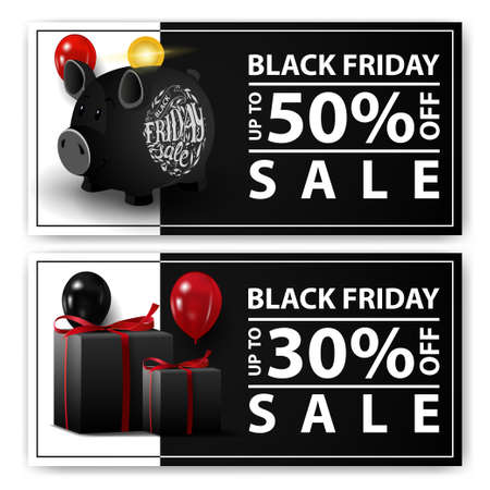 Black friday sale, two horizontal web banners with piggy Bank and gifts. Stock Illustratie
