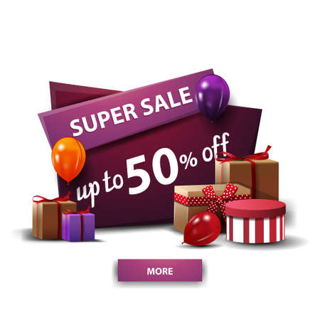 Super sale, up to 50 off, purple discount cartoon banner with gifts