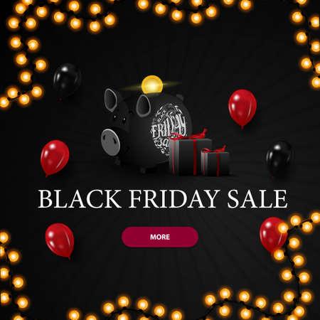Black friday super sale, black 3D discount banner with piggy Bank Stock Illustratie