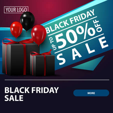 Black friday sale, up to 50 off, square purple discount banner with gifts for your website Vector Illustration