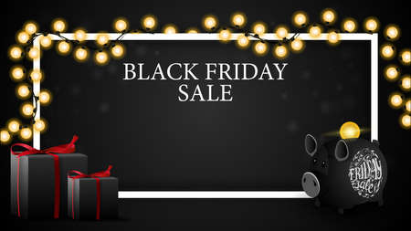 Black friday sale, discount horizontal template for your art with copy space, gifts and piggy Bank Stock Illustratie