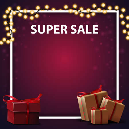 Super sale, square purple discount banner with gift box and place for your text