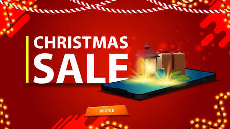 Christmas red discount banner for website with smartphone from the screen which appear gift, vintage lantern, Christmas tree branch with a cone and a Christmas ball