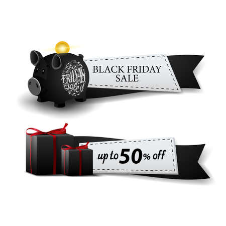 Black friday sale, two web banners in the form of ribbons with piggy Bank and gifts Stock Illustratie