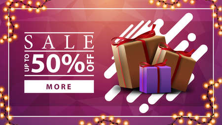 Sale, up to 50 off, pink horizontal discount banner with garland and gift boxes