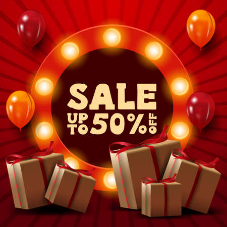Red discount banner with up to 50 off, gifts, ballons and round sign with offer