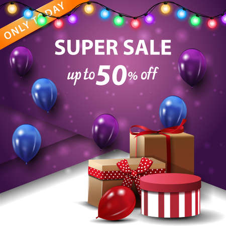 Super sale, up to 50 off, square purple discount banner with gift boxes and balloons